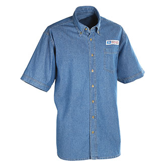 Postal Uniform Shirt Denim Short Sleeve for Mail Handlers and Maintenance Personnel (PX141)