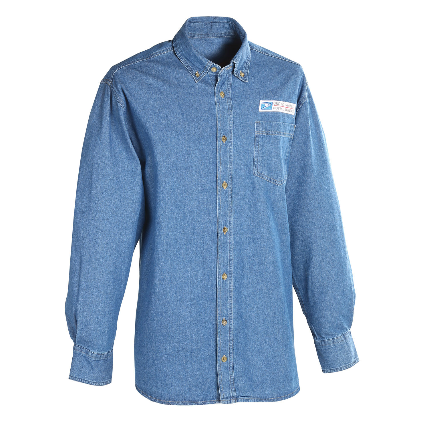 94d61f9c Postal Uniform Shirt Denim Long Sleeve for Mail Handlers and Maintenance  Personnel (PX142)