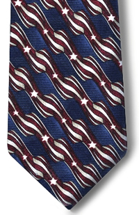 Men's Retail Clerk Postal Uniform Long Stars and Stripes Four-In-Hand Tie